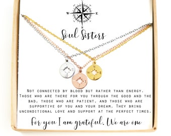 Best Friends tiny Compass Journey Necklace Compass Necklace BFF Gift Graduation Friendship Necklace christmas gift sister
