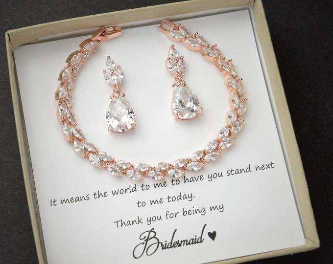 Featured listing image: Custom color -Personalized rose Gold Bridesmaid Gift Set Bridesmaid Earrings bracelet Bridesmaid Jewelry Bridal Jewelry Set Bridesmaid gifts