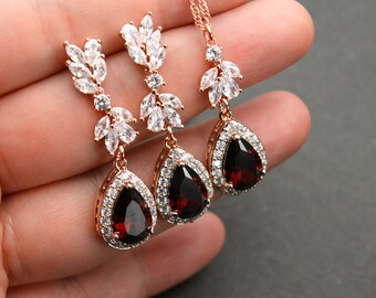 Siam Earrings Oxblood Earrings Pearl Drop Bridesmaid Jewelry Gift Red Bridal Jewelry Set Maroon Necklace AMORE Bordeaux Necklace