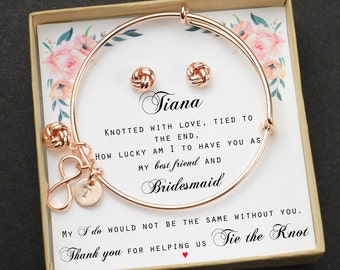 345068d92 Knot Bracelet Bridesmaid Thank You for Helping us Tie the Knot Bridesmaid  Thank You Gift Tie the Knot Bracelet Love Knot Bracelet