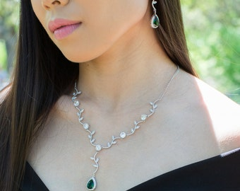 5c747e4cd Prom jewelry set Necklace Earrings set Prom jewelry gift Emerald green  Emerald gold rose gold silver
