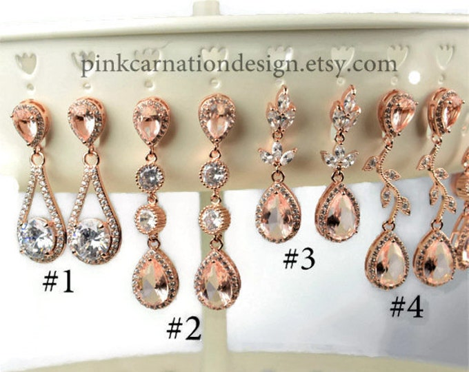 Featured listing image: blush Bridesmaid Gift,Rose gold Bridesmaid Earrings,Bridesmaids Gifts set 4 5 6 7 8,wedding earrings, bridal earrings ,bridesmaid necklace