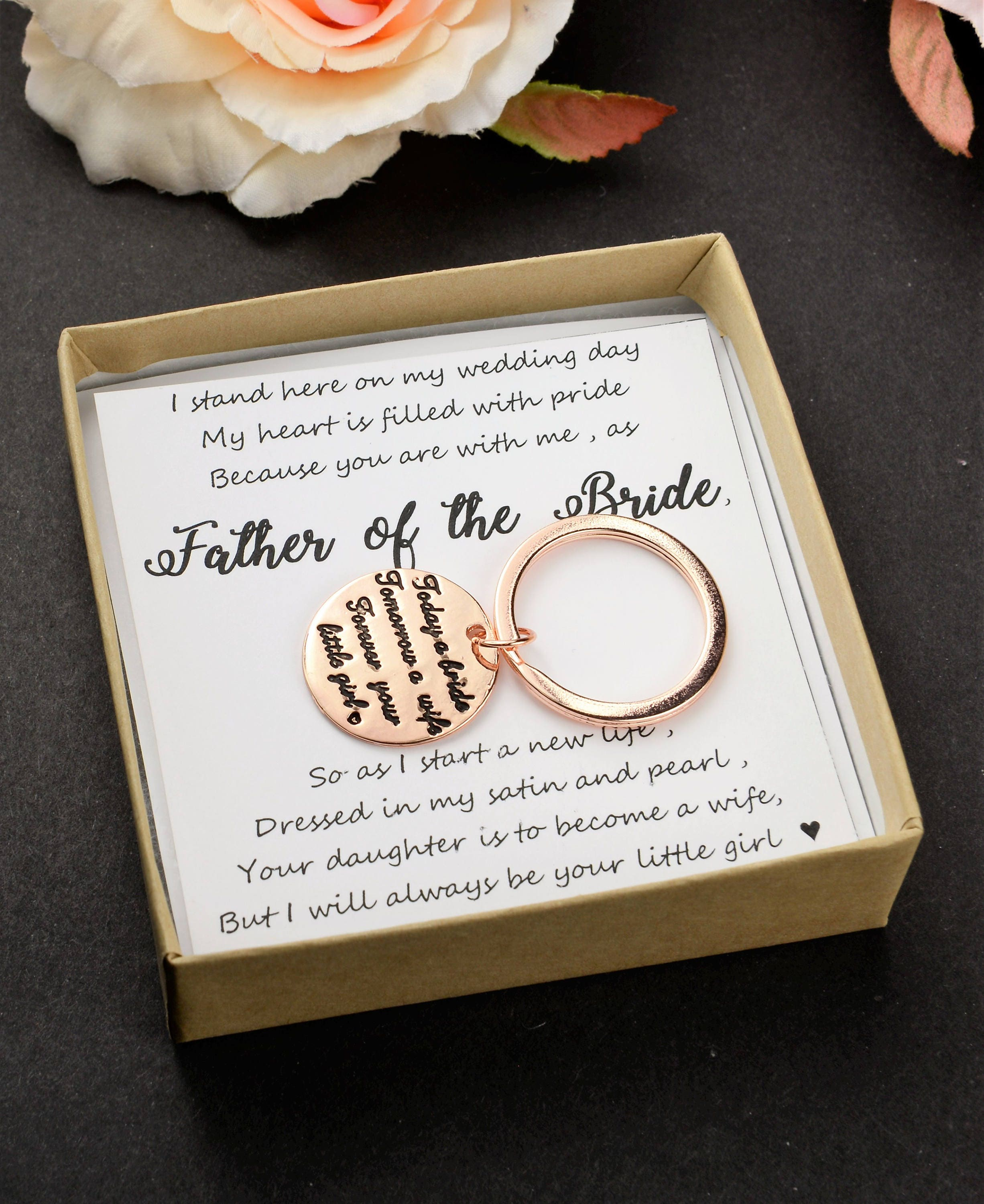 Father of the bride gift Father wedding gift key chain rose gold ...