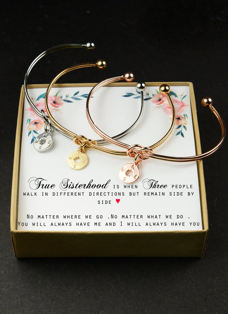 9763925b4d7ff Sister Gift Sister Bracelet/Necklace gift 2 3 4 5 6 7 three Sisters Compass  necklace Wedding Gift Sisters Birthday best friend sorority gift