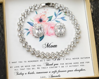 Mother of the bride set,Mother of the groom set ,  Bridal jewelry set, Mothers' gift, Mother in law, Mom gift set Custom PRINCESS CUT