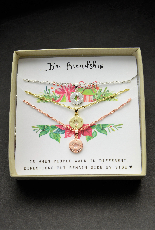Compass Necklace bracelet Best Friend Gift Necklace Friendship 2 3 4 ...