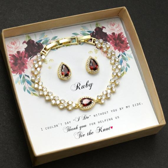 Burgundy red dark garnet bracelet burgundy Bridesmaid gifts Jewelry silverRose Gold burgundy Bridal jewelry Bridesmaid gift set