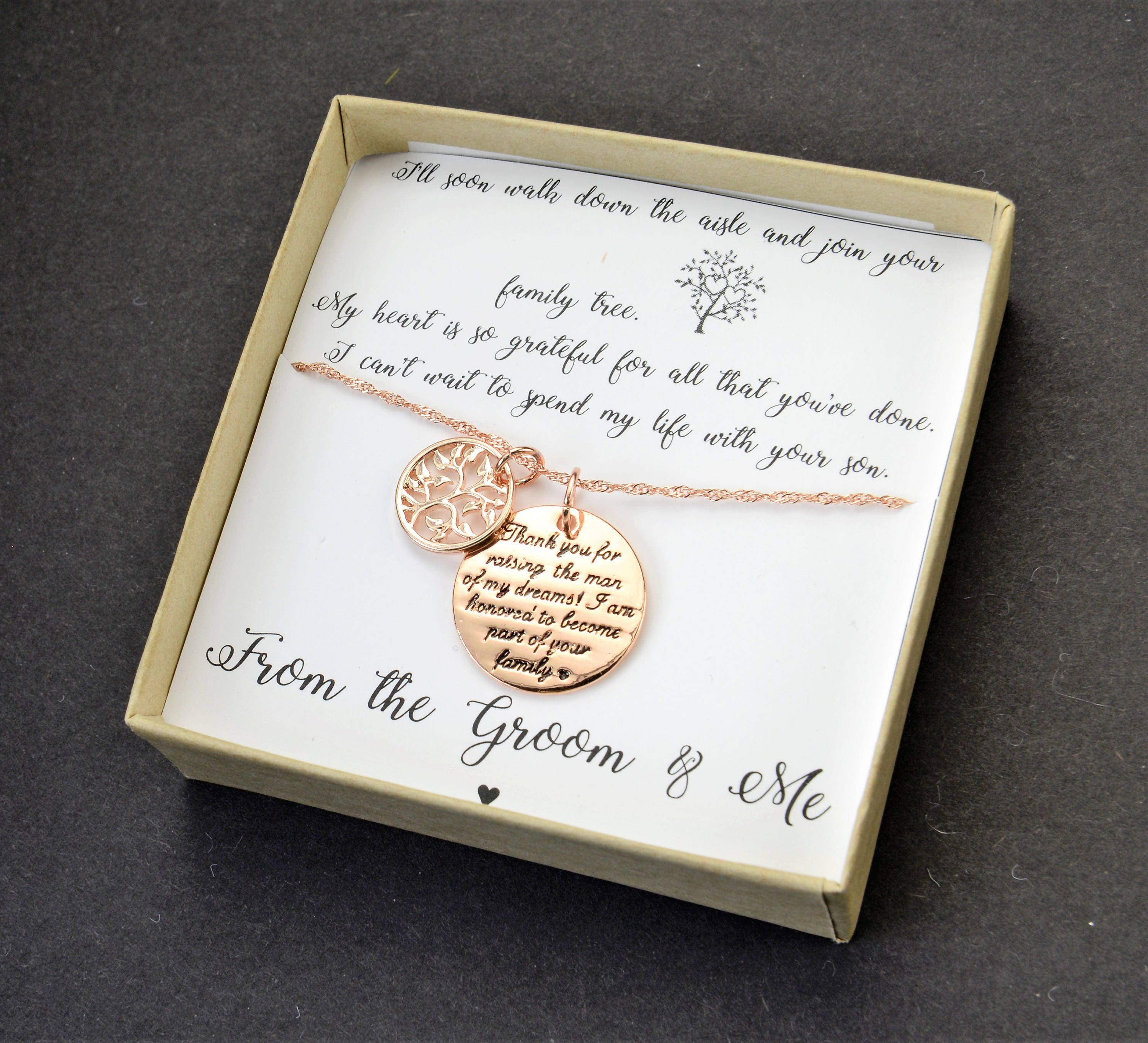 Mother Of The Groom Gift Family Tree From Bride Necklace Father Of