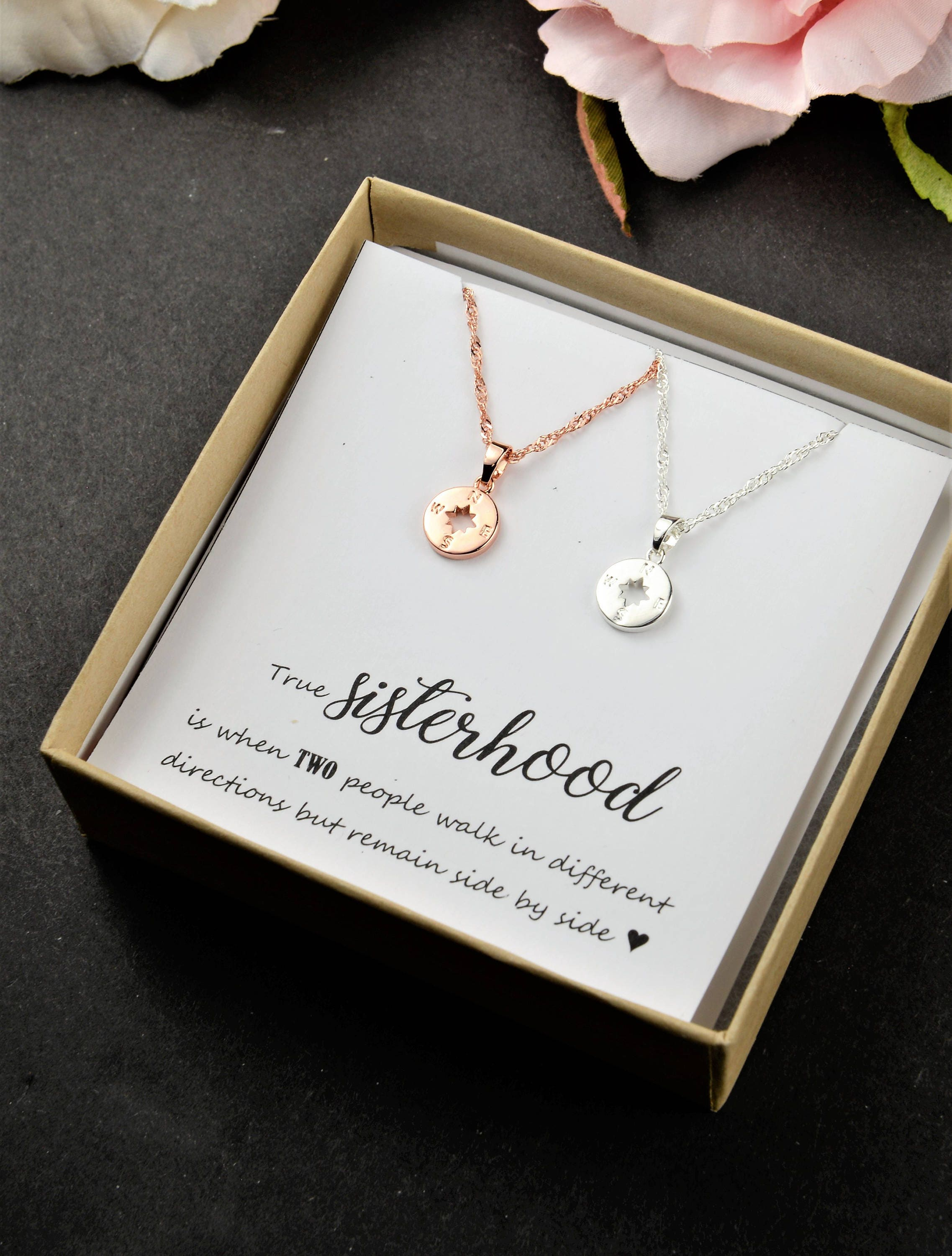 Christmas Gift for Best friend Sisters Necklace Compass Necklace ...