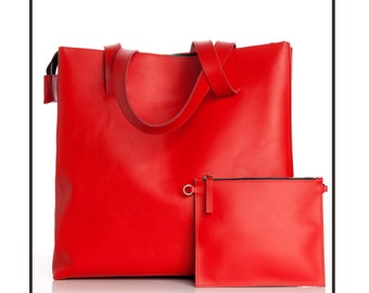 Red leather shopper bag
