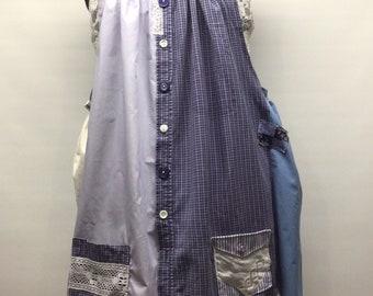 Gypsy Summer Loose Dress Upcycled Tunic Boho Fun Pinafore Med-Large    FREE SHIPPING     Fabricycle