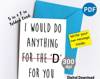 Editable For The D Sexy Card Funny Birthday Anniversary Greeting Cards Gifts Boyfriend Gift