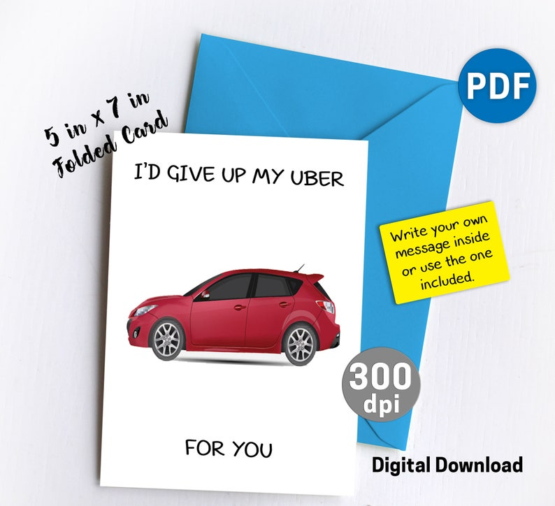Editable Uber Greeting Card Funny Birthday Gift Best Friend