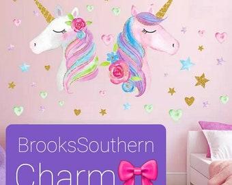 hand painted decal pastel unicorn fantasy decal kids room decal unicorn decor unicorn mural Unicorn wall sticker unicorn decal