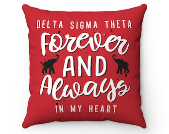 Custom Dst Forever And Always In My Heart Decorative Pillow  Crimson Red And White  Delta Sigma Theta