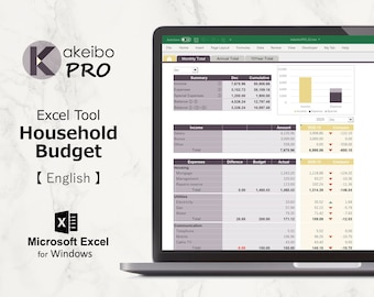 Kakeibo Pro – Excel tool household Budget for English, Mortar