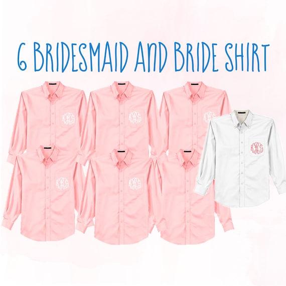 Bridesmaid Monogram Oxford Button Ups Bride Shirt Getting Ready Wedding Day Shirt Bridal party button downs