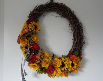 17 oval wreath with sunflowers