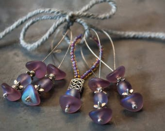 Frosted Purple Stitch Marker - (4 plus 1 Accent Marker)