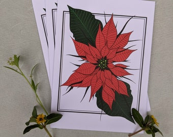 Goth Floral Poinsettia Greetings Card 15x10mm