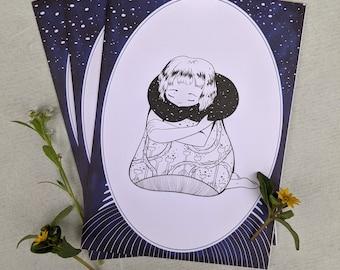 A Hug in the Night Greetings Card 15x10mm