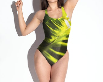 1bf04b439ec50 Night garden Green Botanical One-Piece Swimsuit