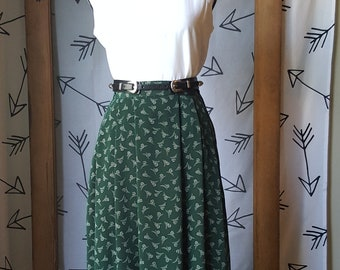 Vintage 80s forest green Bice' prairie skirt with pockets, size 8