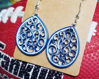 Indianapolis Colts Earrings | NFL Football Earring | Colts Gifts | Quilled Paper Earring | Blue & White Earring | Nickel-Free | Handmade