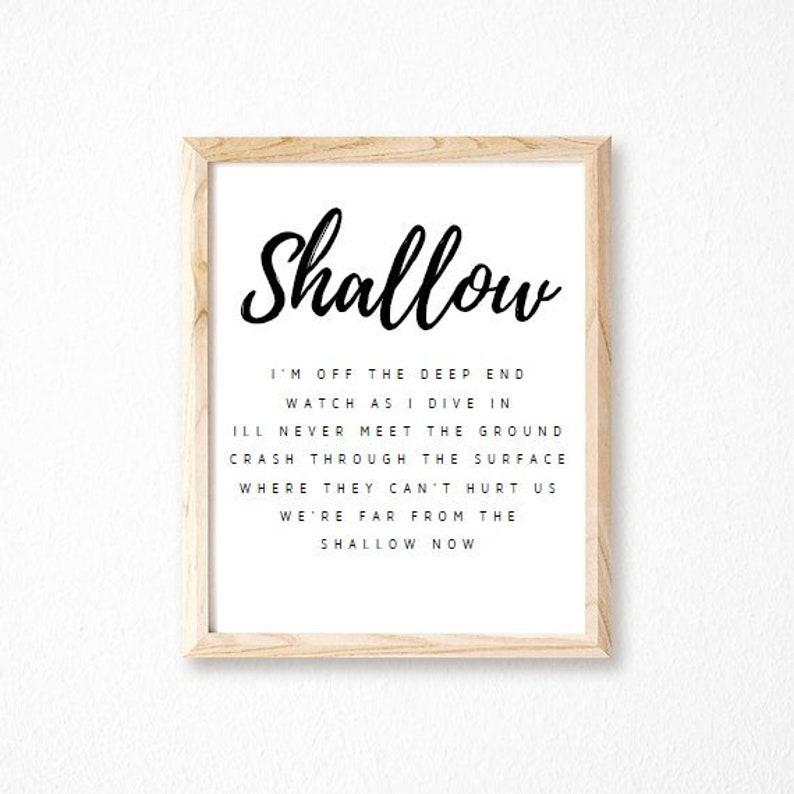 Shallow, Lady Gaga Song Lyrics, Printable Wall Art