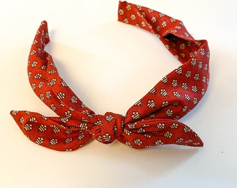 Knotted Fabric Headband in Festive Red Holiday Pattern