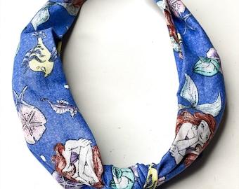 Knotted Fabric Headband in Purple Little Mermaid Print