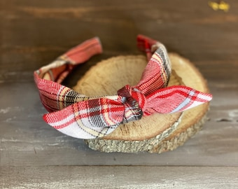 Knotted Fabric Headband in Flannel Red and Cream Plaid - Thick With Tie style pictured