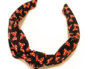 Knotted Fabric Headband in Black and Minnie Mouse Bow Print