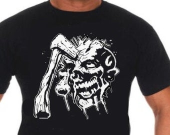 Skull T-shirt,  Ghoul Tee, Skull and Axe T-shirt, Skull and Axe Tee, Gory Decal, Gory Sticker, Zombie Decal, Zombie Sticker, Several Colors