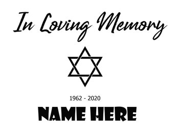 In Loving Memory, In Memory of (Customizable)  Memorial Decals, Memoriam,  Epitaphs, USAVinyls