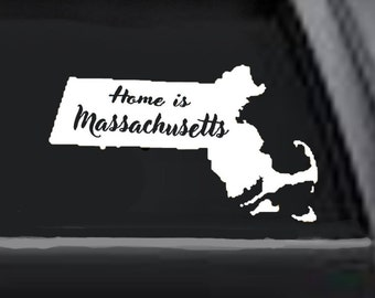Your State Decal,  Car State Decal,  Home State Decal, Auto Decal, Home is Decal, Decal of Home State, Massachusetts thru New Jersey