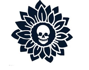 Skull  Flower Decal, Skull Car Sticker Skull Car Vinyl, Skull Car Decal ,Hot Car Decal ,Car Side Decal, Car Trunk Decal, Car Door Decal