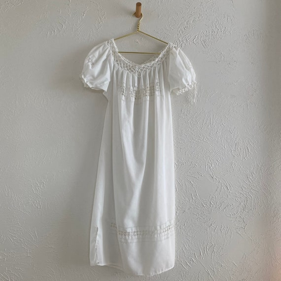 antique hand crafted drawn thread smocked nightgow