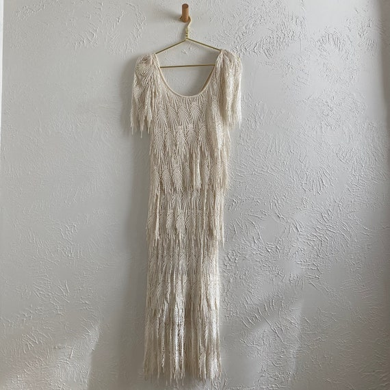 Art Deco tiered lace wedding gown • size small