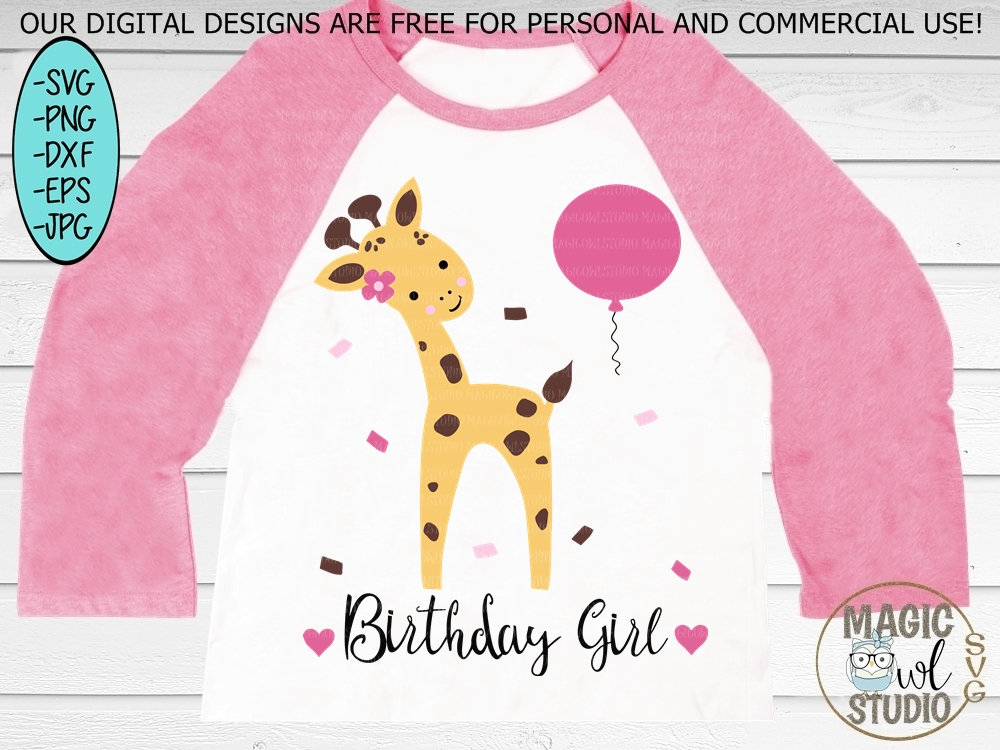 Giraffe Svg Birthday Girl Svg Birthday Cut File Birthday Etsy
