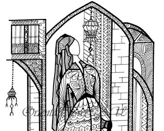 Oriental zentangle. Lady in front her home town, printable JPG