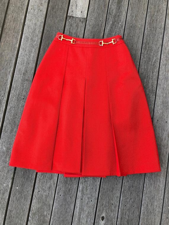 Vintage Celine Paris red pleated skirt horesebit s
