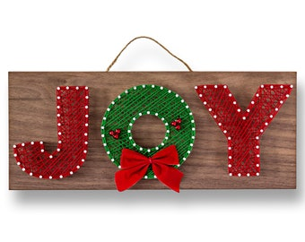"12"" x 5"" Christmas JOY String Art Kit | DIY Adult Holiday Craft Project"