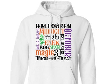 """Winey Bitches Co """"Halloween Word Jumble"""" Pullover Hoodie 8 oz."""