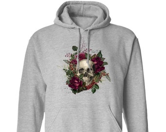 Winey Bitches Co Floral Skull Design #2 Pullover Hoodie 8 oz.