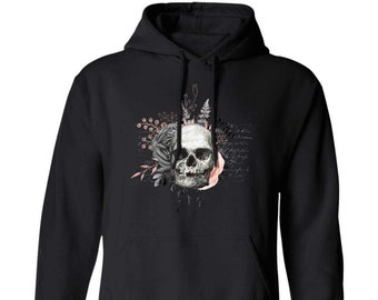 Winey Bitches Co Floral Skull Design #4 Pullover Hoodie 8 oz.
