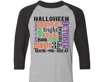 "Winey Bitches Co ""Halloween Word Jumble"" Colorblock Raglan Jersey"