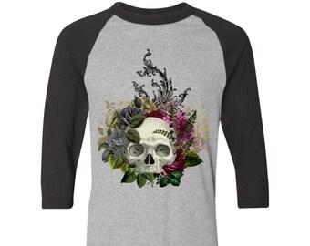 Winey Bitches Co Skull Design #1 Colorblock Raglan Jersey