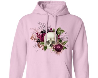 Winey Bitches Co Floral Skull Design #6 Pullover Hoodie 8 oz.