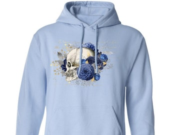 Winey Bitches Co Floral Skull Design #5 Pullover Hoodie 8 oz.
